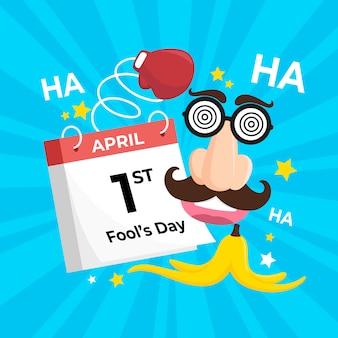 Flat design april fools day design