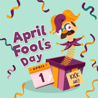 Плоский дизайн апрель дураков день арлекин в коробке