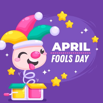 Flat design april fools day theme