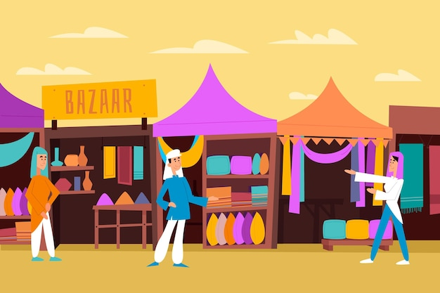 Illustrazione di bazar arabo design piatto con personaggi e tende