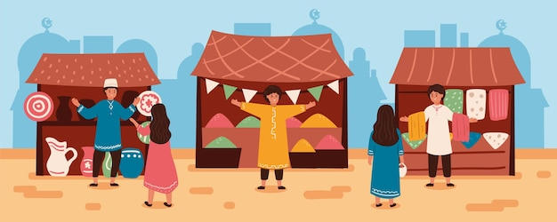 Flat design arab bazaar illustration with people and tents