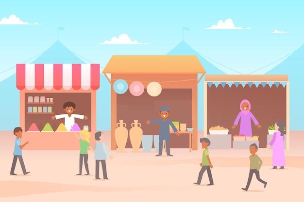 Flat design arab bazaar illustration