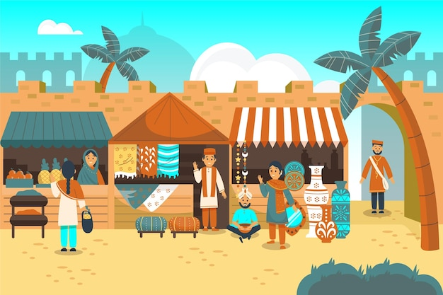 Flat design arab bazaar illustration