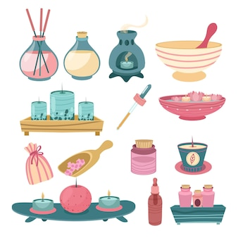 Flat design aromatherapy element collection