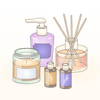Insieme di elementi di aromaterapia design piatto