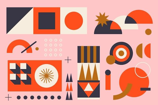 さまざまな幾何学的要素のフラットなデザインの配置