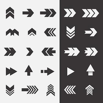 Raccolta di frecce di design piatto