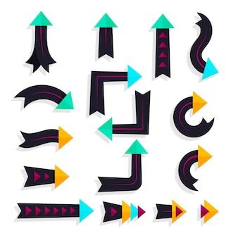 フラットデザインの矢印コレクション