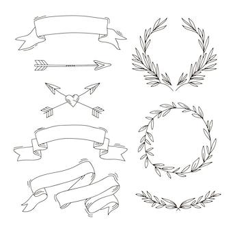 フラットなデザインの矢印、リボン、フレーム