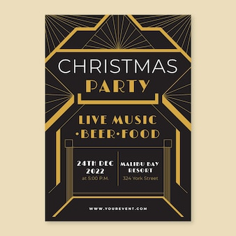 Flat design of art deco party poster