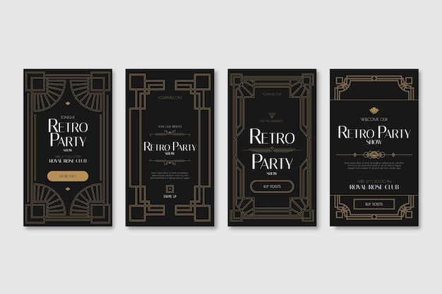 Flat design of art deco story collection