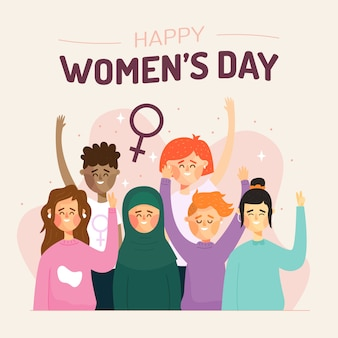 Flat design artistic concept for womens day