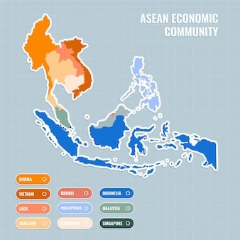 Flat design asean map illustration