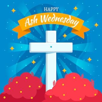 Flat design ash wednesday illustrated