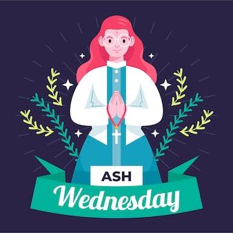 Flat design ash wednesday