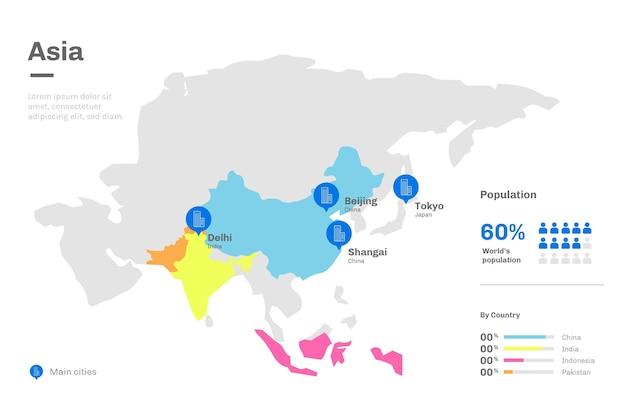 Design piatto asia mappa infografica