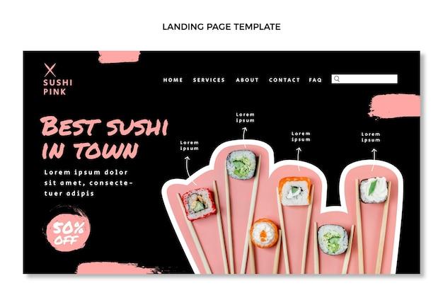 Pagina di destinazione del cibo asiatico dal design piatto
