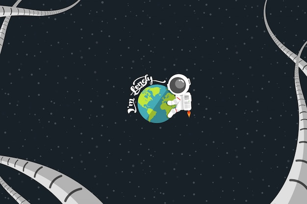 Flat design, astronaut embrace earth with word
