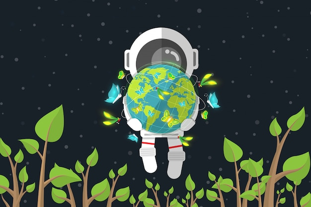 Flat design, astronaut holds earth with butterfly while floating among of plant in space, environmental conservation concept, vector illustration, infographic element