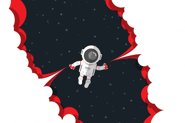 Flat design, astronaut push down on button spray paint bottle launch red smoke while floating on space, vector illustration
