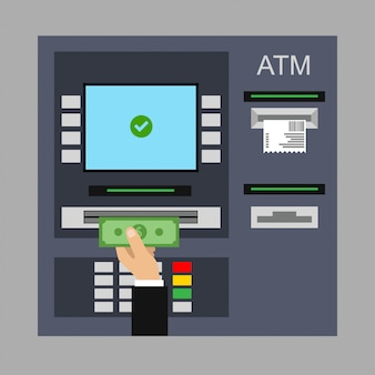 Flat design of atm machine with cash, credit card and check.