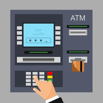 Flat design of atm machine with credit card. entered pin.