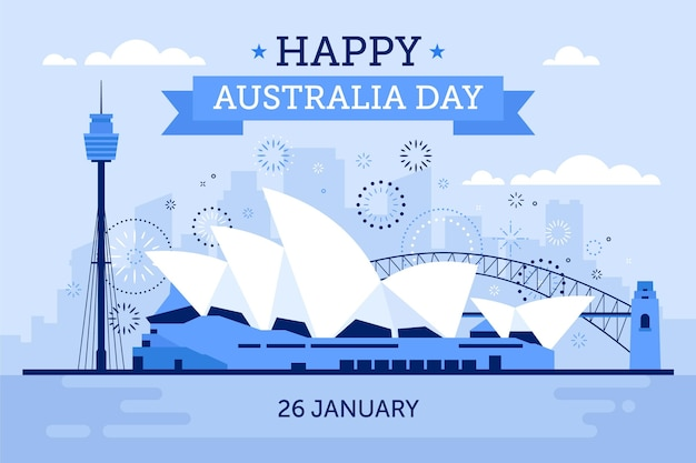 Flat design australia day bridge illustration