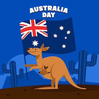 フラットデザインオーストラリアの日コンセプト