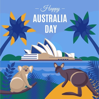 Flat design australia day illustration