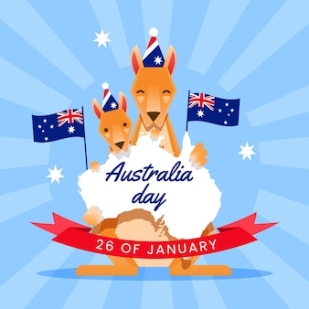 Flat design australia day with australian map