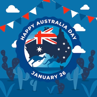 Flat design australia day with kangaroo illustration