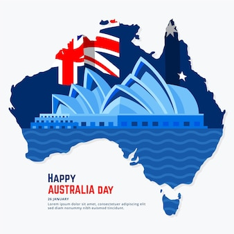 Flat design australia day Free Vector