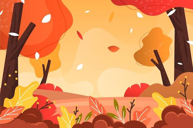 森の美しい風景とフラットなデザインの秋の背景