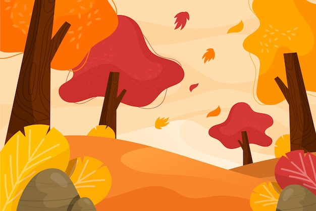Flat design autumn background with beautiful landscape