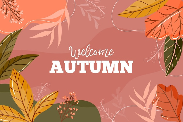 Flat design autumn background with colorful leaves