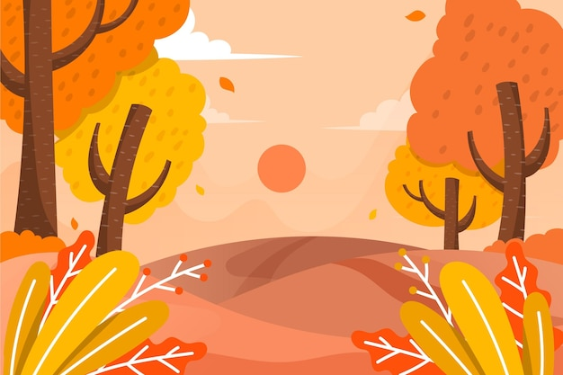 Flat design autumn background with colorful view