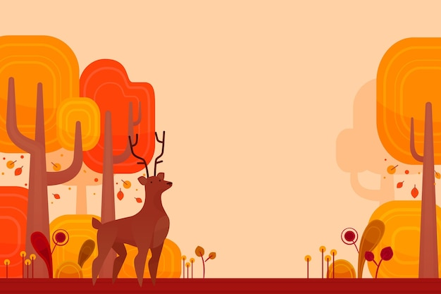 Flat design autumn background with forest animal