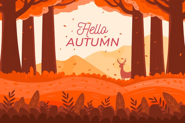Flat design autumn background with hello autumn text
