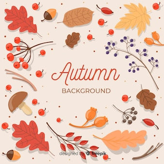 Flat design autumn background with leaves