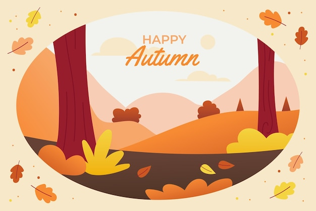 Flat design autumn background