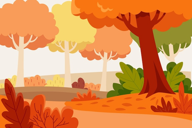Flat design autumn background