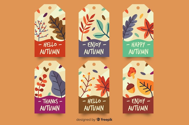 Flat design autumn badge collection