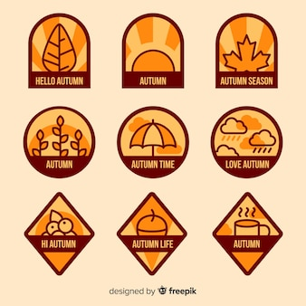 Flat design autumn badge collection