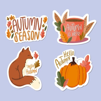Flat design autumn badges set