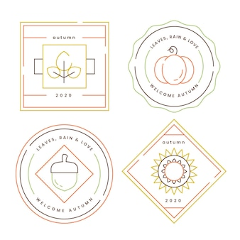 Flat design autumn badges