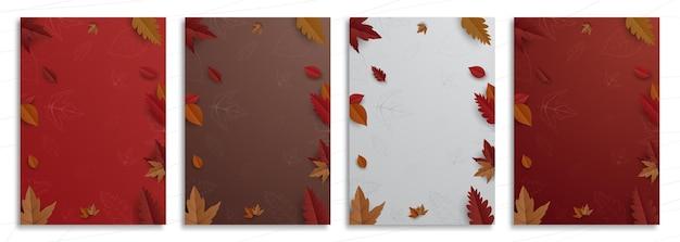 Осенняя коллекция баннеров в плоском дизайне