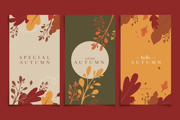 Flat design autumn banners set