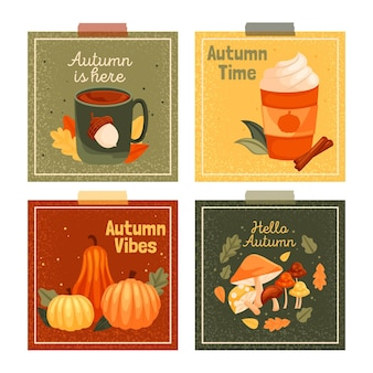 Flat design autumn card collection
