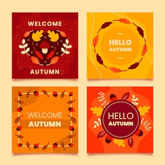 Flat design autumn card set