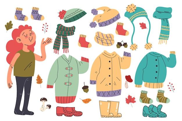 Bambini autunnali dal design piatto che indossano cappotti e sciarpe